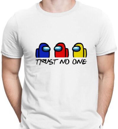 Among us Trust no one tricou alb barbat 1